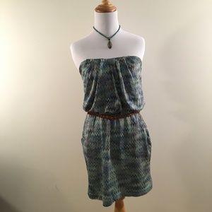 City Studio Strapless Dress with Chevron Print